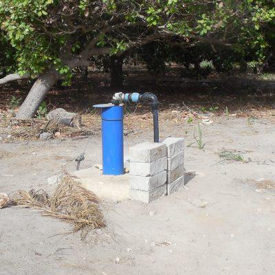 La pompe relie le forage aux bassins d'irrigation